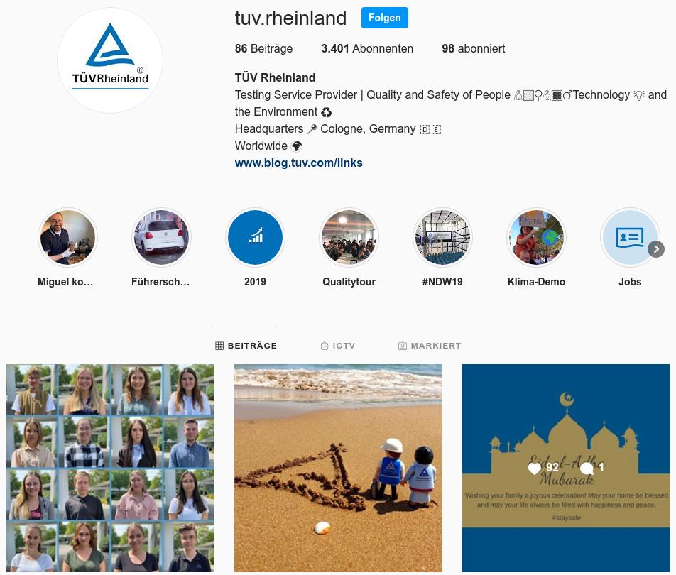 Instagram TÜV Rheinland